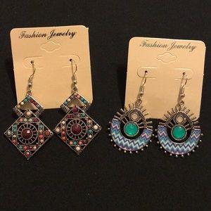 💐 Lot of 2 NEW tribal boho hippie dangle earrings